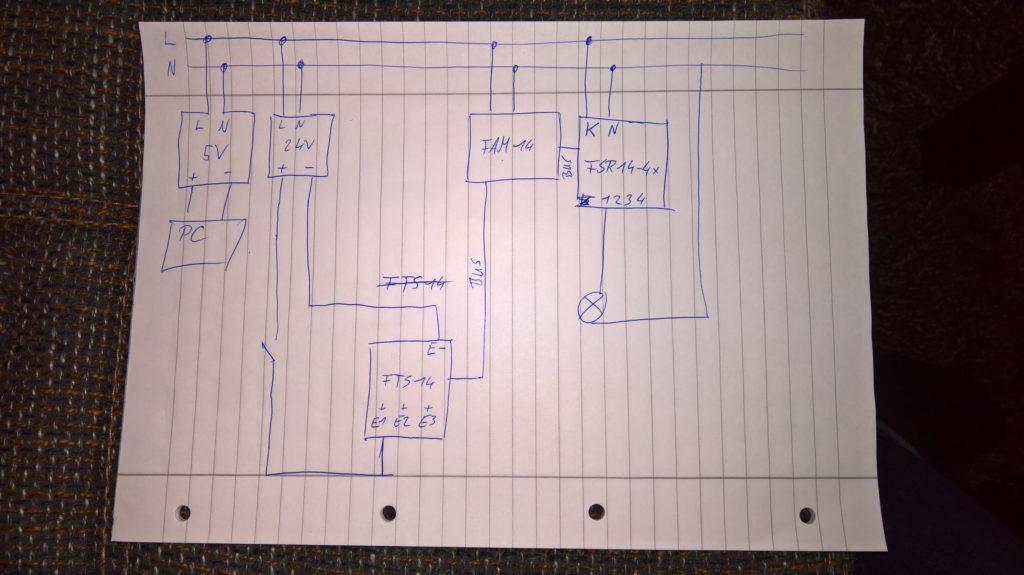 Handschriftlicher Schaltplan des Testaufbaus